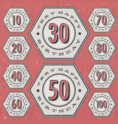 Retro Vintage style Birthday greeting card vector image
