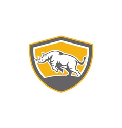Rhinoceros charging side shield retro vector