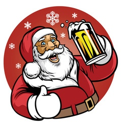 santa claus enjoy a glass of beer vector image vector image