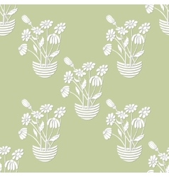 Seamless with chamomile in flowerpot vector
