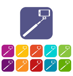 selfie stick and smartphone icons set vector image vector image