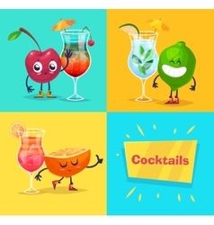 set of fruit characters and cocktails cute vector image