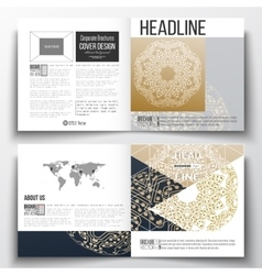 Set of square design brochure template golden vector