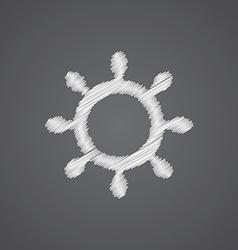 Ship wheel sketch logo doodle icon vector