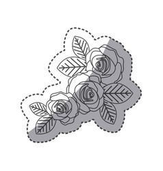 Silhouette oval roses with leaves icon vector