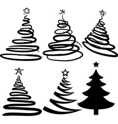Six christmas-trees vector