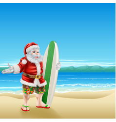 Surf santa on the beach vector
