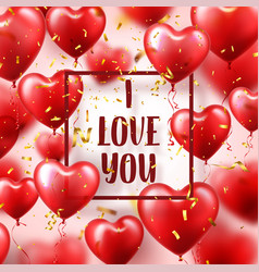 Valentines day abstract background with red 3d vector