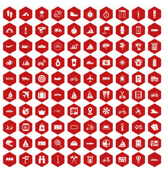 100 voyage icons hexagon red vector