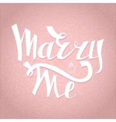 Marry me card with marriage proposal engagement vector