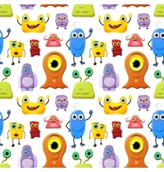 Crowd of cute monsters different colours on white vector