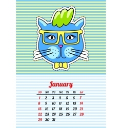 Calendar 2017 with cats january in cartoon 80s vector