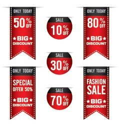 Sale banner for red ribbon and many discount price vector