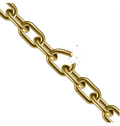 Metal golden broken chain 3d freedom concept vector