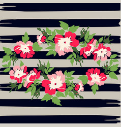 Hand drawn wreath tropical flower rose vintage vector