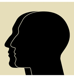 Two heads silhouette vector