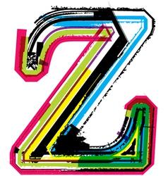 Grunge colorful font Letter z vector image