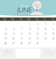 2016 calendar monthly calendar template for june vector