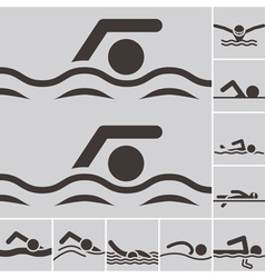 Swimming icons vector