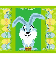 Greeting card with easter bunny vector