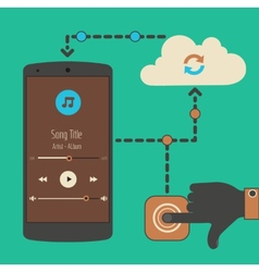 Cloud audio service synchronization concept vector