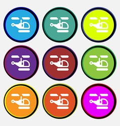 Helicopter icon sign nine multi-colored round vector