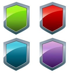 shiny shields in different colors vector image