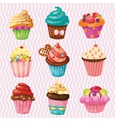 Set of cakes nine different cakes vector