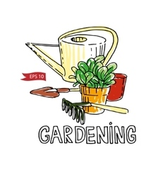 Hand drawn garden tools vector