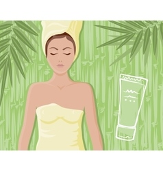 Bamboo cream massage girl vector