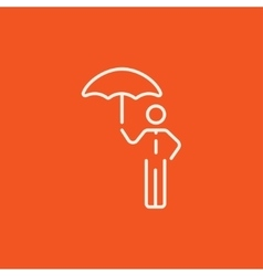 Businessman with umbrella line icon vector