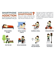 Flat of smartphone addiction vector