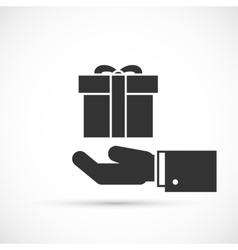 Gift box in hand icon vector