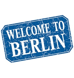 Welcome to berlin blue square grunge stamp vector