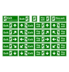 Set of emergency fire exit green signs with vector image