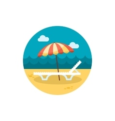 Beach chaise lounge with umbrella icon Vacation vector image