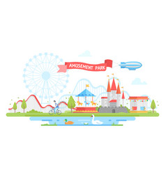 amusement park - modern flat design style vector image vector image