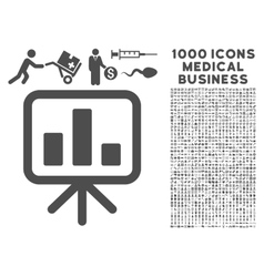Bar chart display icon with 1000 medical business vector