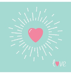 Big pink shining heart and word love Flat design vector image vector image