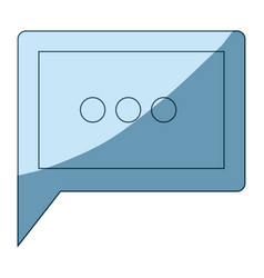 Blue shading silhouette of square dialogue in vector