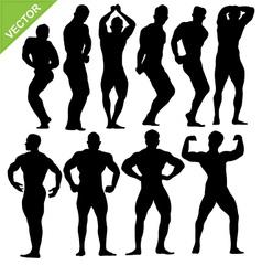 Bodybuilding silhouettes vector