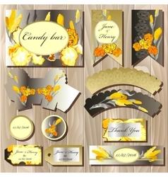 Candy bar wedding design set with iris flowers vector