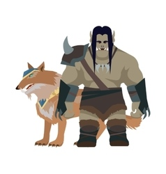 Cartoon monster orc warrior with wolf game object vector