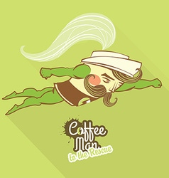 Coffee man character flying to the rescue vector image vector image