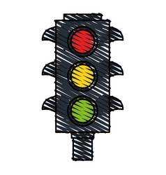 Color crayon stripe image traffic light element of vector