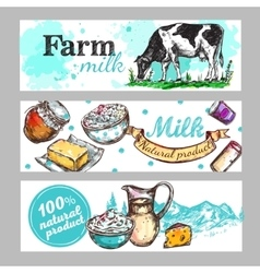 Cow Farm Milk Banner Set vector image vector image