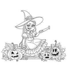 Cute girl in witch costume sitting on the fence vector
