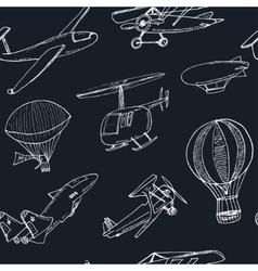 Doodle aviation seamless pattern Vintage vector image vector image