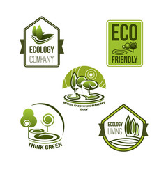 Eco business and green living icon ecology design vector