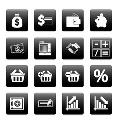 Finance icons on black squares vector image vector image